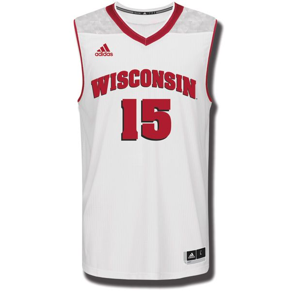 196bdd87a5d1 Adidas March Madness Wisconsin Badgers Basketball Jersey (White ...