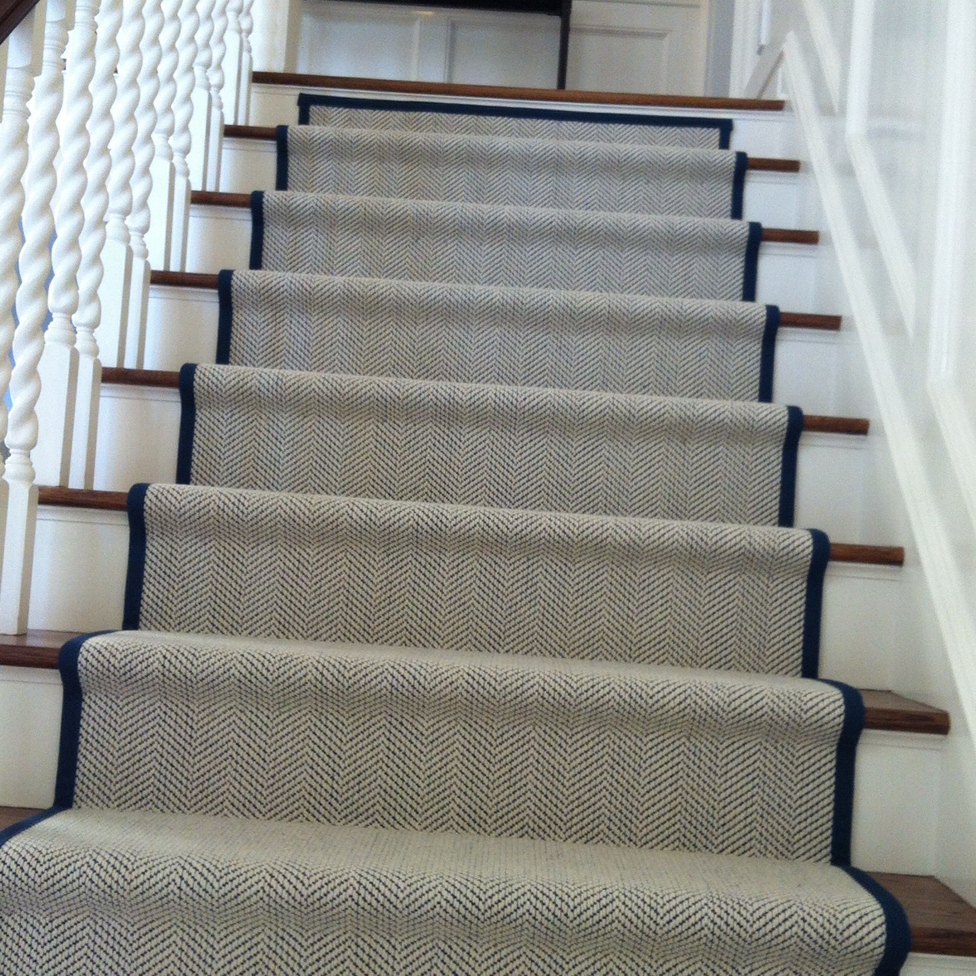 My New Staircase Runner Herringbone With A Marine Blue Binding Stair Runner Carpet Staircase Runner Carpet Stairs