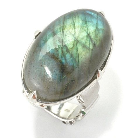 135-227 - Dallas Prince Designs Sterling Silver 30 x 18mm Oval Labradorite North-South Ring