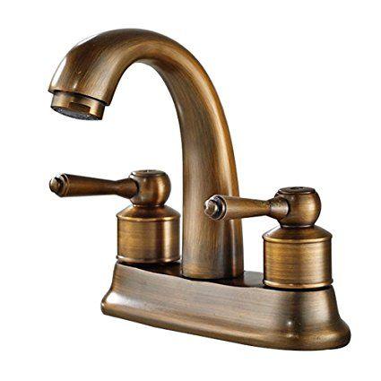 Votamuta Modern Retro Style 4 Inch Centerset Bathroom Basin Faucet Widespread Dual Holes Antique Brass Bathroom Faucet Vintage Kitchen Faucet Bathroom Faucets