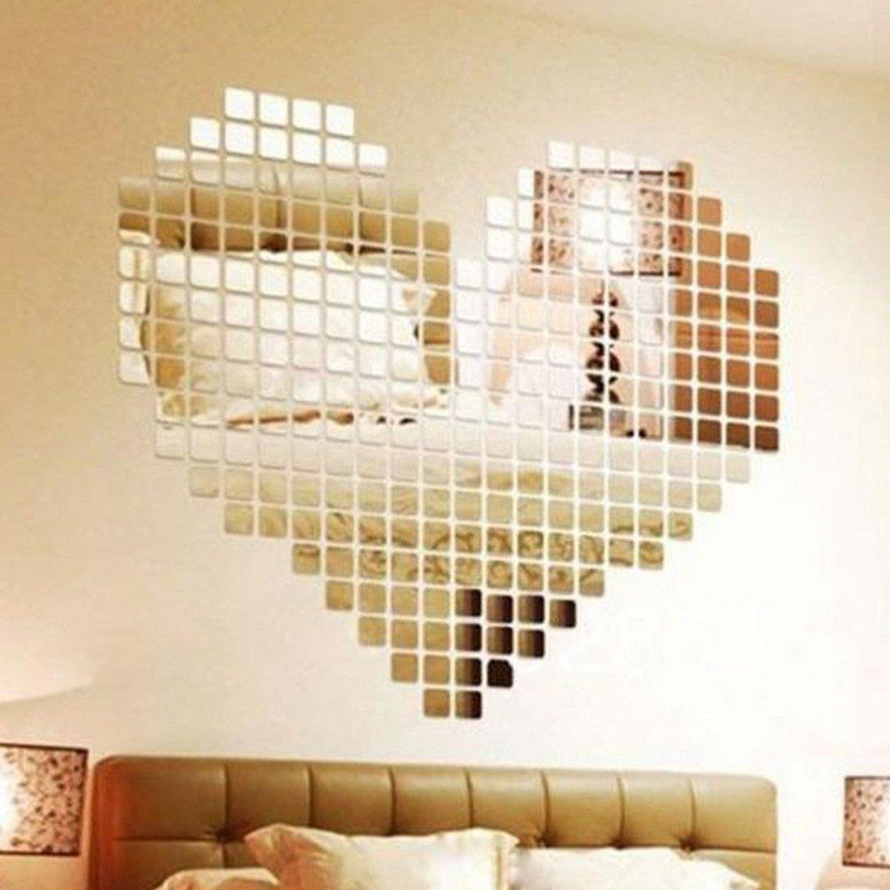 100 Piece Self-adhesive Mirror Tile 3D Wall Sticker Decal Mosaic ...