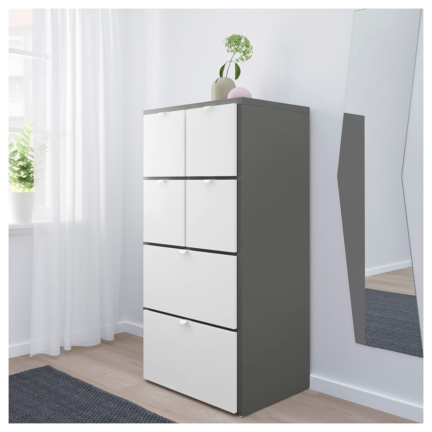 Visthus Chest Of 6 Drawers Grey White Drawers Ikea Tall
