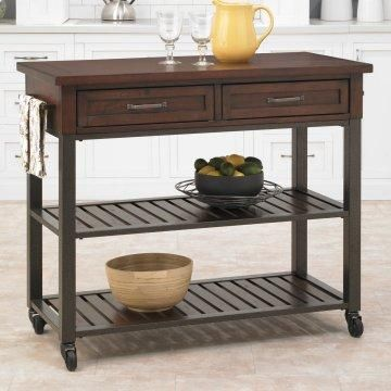 Portable kitchen cart with open and concealed storage.