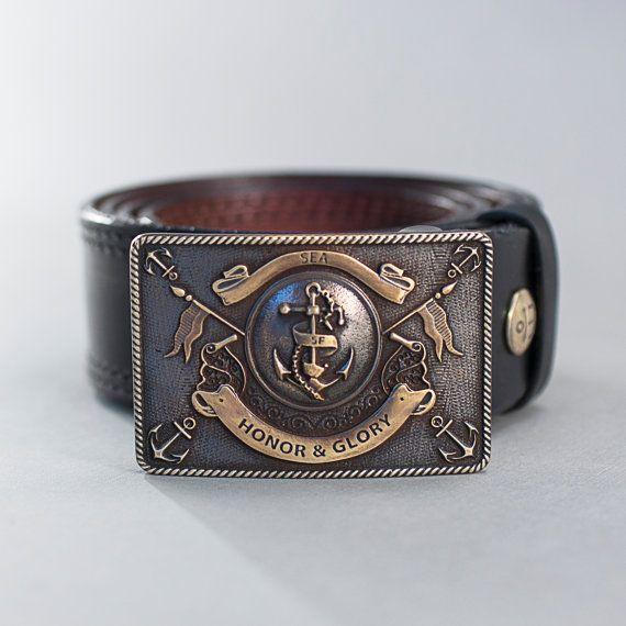 56080e4041c0f Leather belt Buckle belt Honor amp Glory man leather belt nautical belt by  werfstore. Explore
