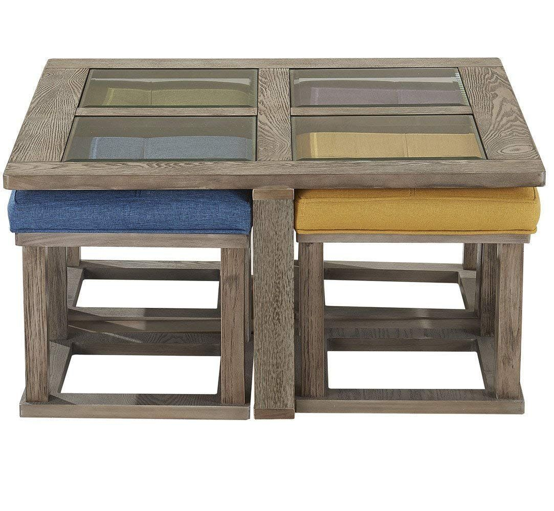 Oandk Furniture Square Coffee Table With 4 Nesting Stools Cocktail Height Coffee Table With Tempered Coffee Table Square Coffee Table Coffee Table With Stools Coffee table with nesting stools