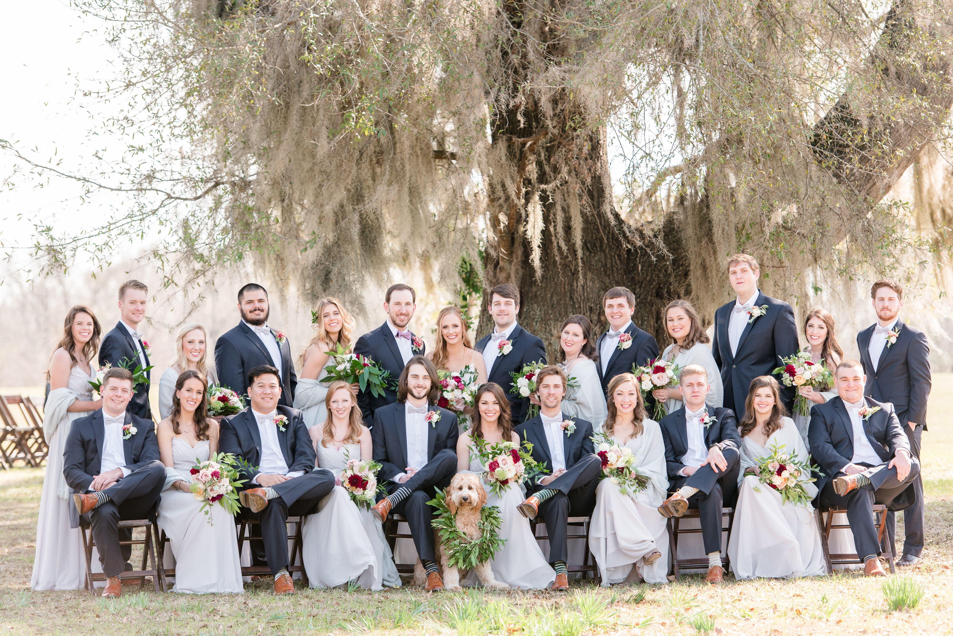 Grey Bridesmaid Dresses And Blue Suits