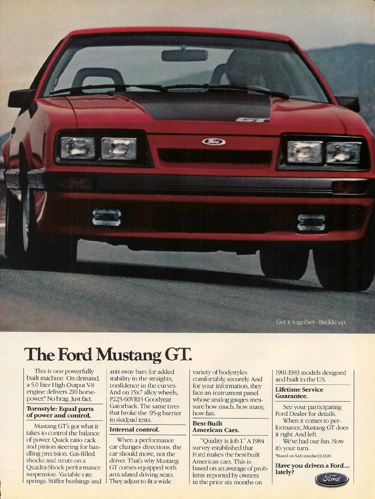 1985 Ford Mustang Gt Ad And In This Corner The Ford Mustang Gt