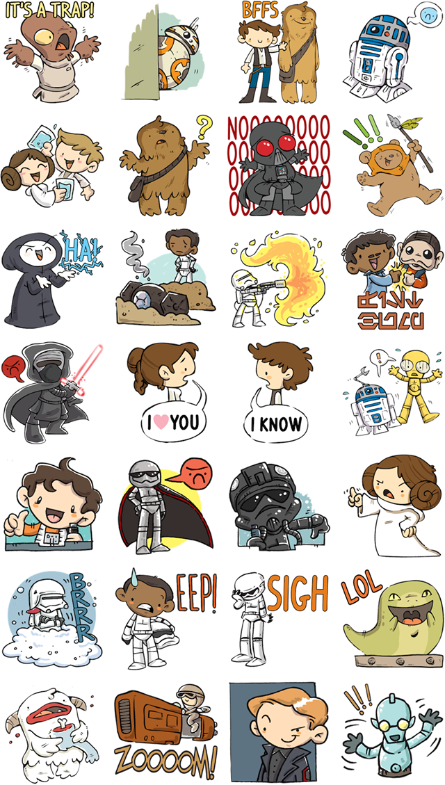 The Force Awakens With New Star Wars Stickers On Facebook Chip And Company Star Wars Stickers Star Wars Cartoon Ultimate Star Wars