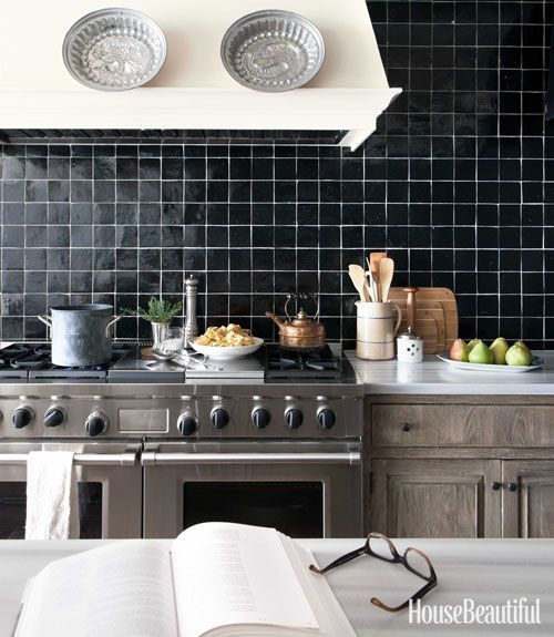 Black Kitchen Cabinets White Tile: Lovely Handmade Black Tile With White Grout. Note The Grey