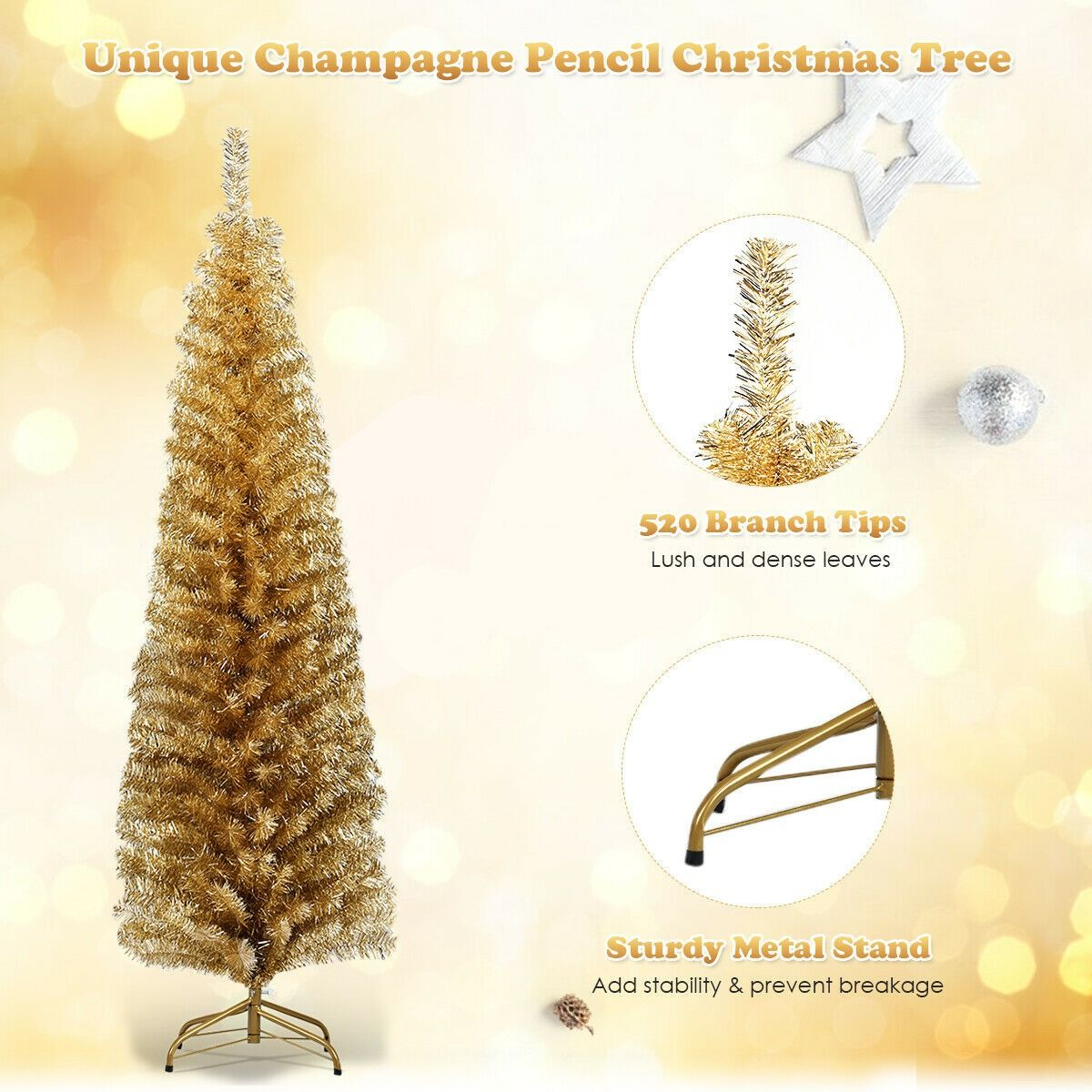 6 Ft Tinsel Tree Unlit Slim Pencil Christmas Tree 35 95 Free Shipping This 6ft Slim Christmas Tree Whic Pencil Christmas Tree Tinsel Tree Silver Tinsel Tree