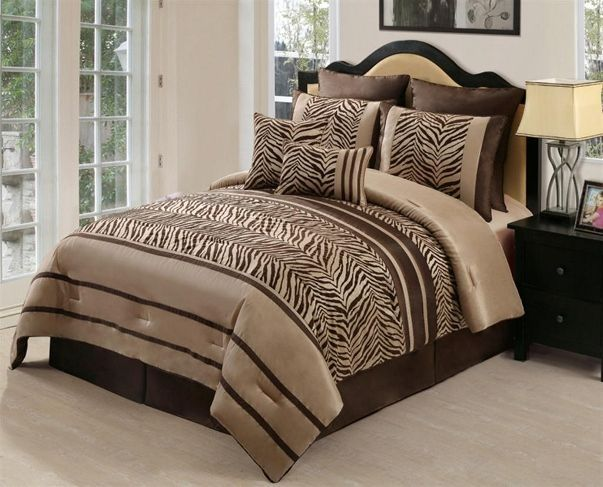 Animal Print Bedding | 8PC Zambia Chocolate Brown Zebra Print Comforter Set  Queen | EBay