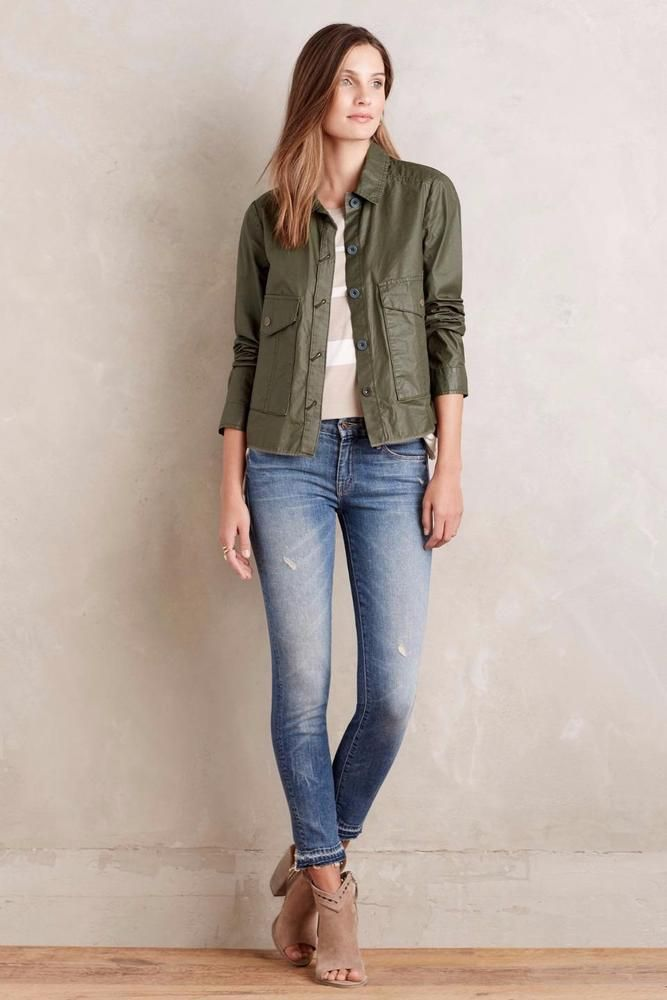 ANTHROPOLOGIE NEW SIZE L LARGE Utility Swing Jacket Hei Hei Green Womens Top NWT #HeiHeiAnthropologie #BasicJacket