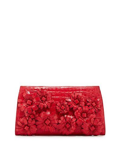 V2G5Z Nancy Gonzalez Slicer Crocodile Flower-Applique Clutch Bag, Red