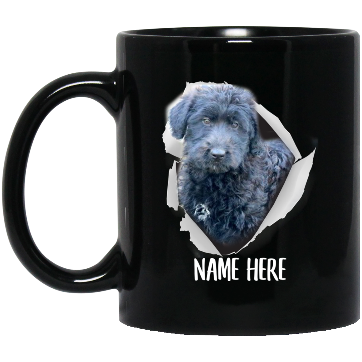 Funny Personalized Sheepadoodle Blue Custom Name Black