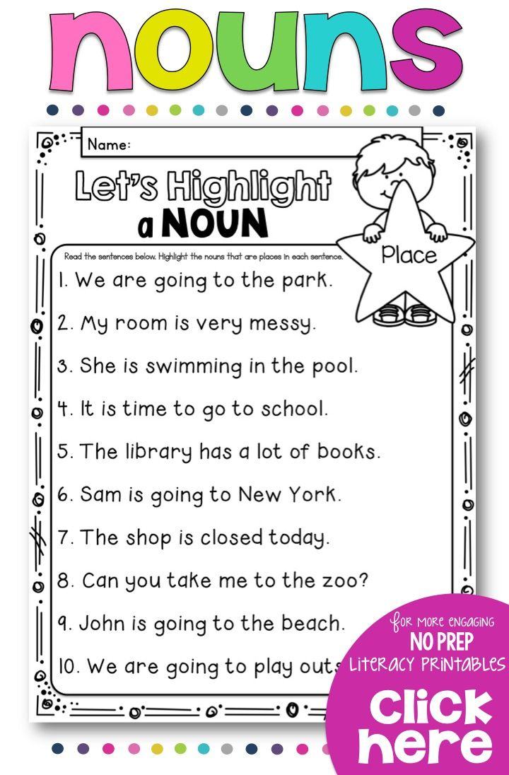 Nouns test for 1st Graders - Goes over various types of nouns ...