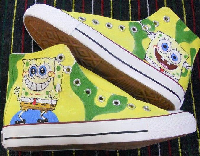 c3c900c338ae2 spongebob shoes hand painted canvas shoes spongebob spongebob ca ...