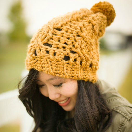 Here Is The Chunky Version Of My Cabled Slouchy Beanie Using A