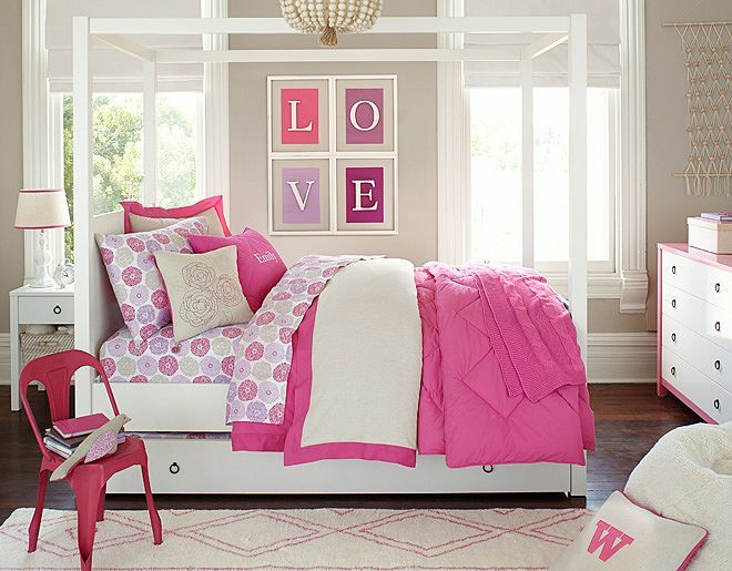 I love the Pottery Barn Kids Pink Linen bedroom. White bed, hot pink ...