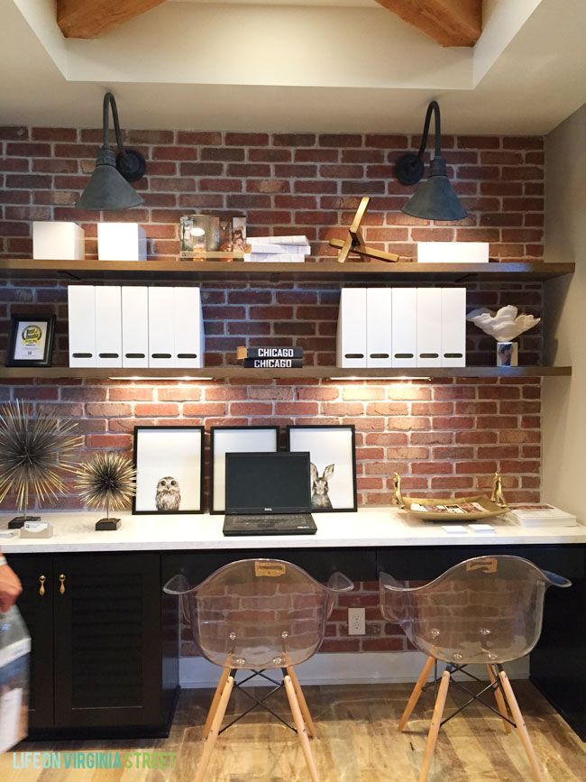 Gorgeous desk area with exposed brick, open shelving, industrial sconces  and wood beams via - Small Home Office/den With Reclaimed Plank Wood Ceiling, Vertical