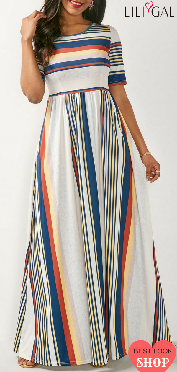 4e757e569891 High Waist Short Sleeve Printed Maxi Dress  liligal  dresses  womenswear   womensfashion
