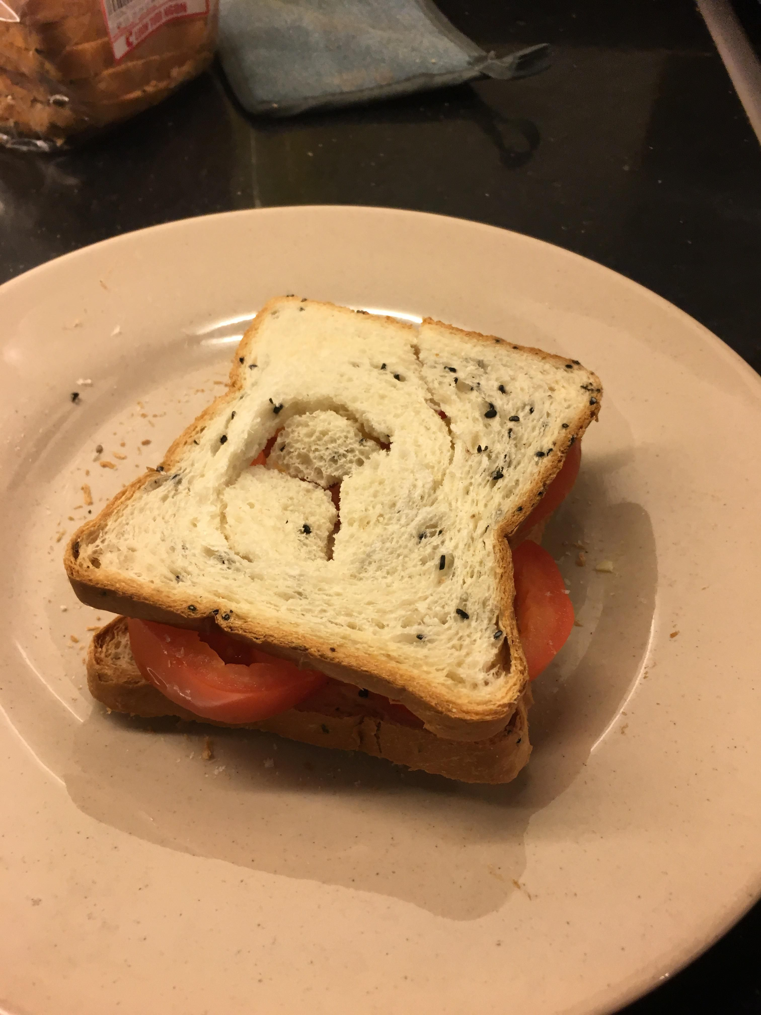 Microwaved tomato sandwich courtesy of my roommate