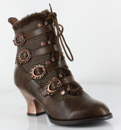 Women's Shoes Hades Nephele Steampunk Victorian Ankle Boots Vintage Retro Gears Medium B(M) Brown