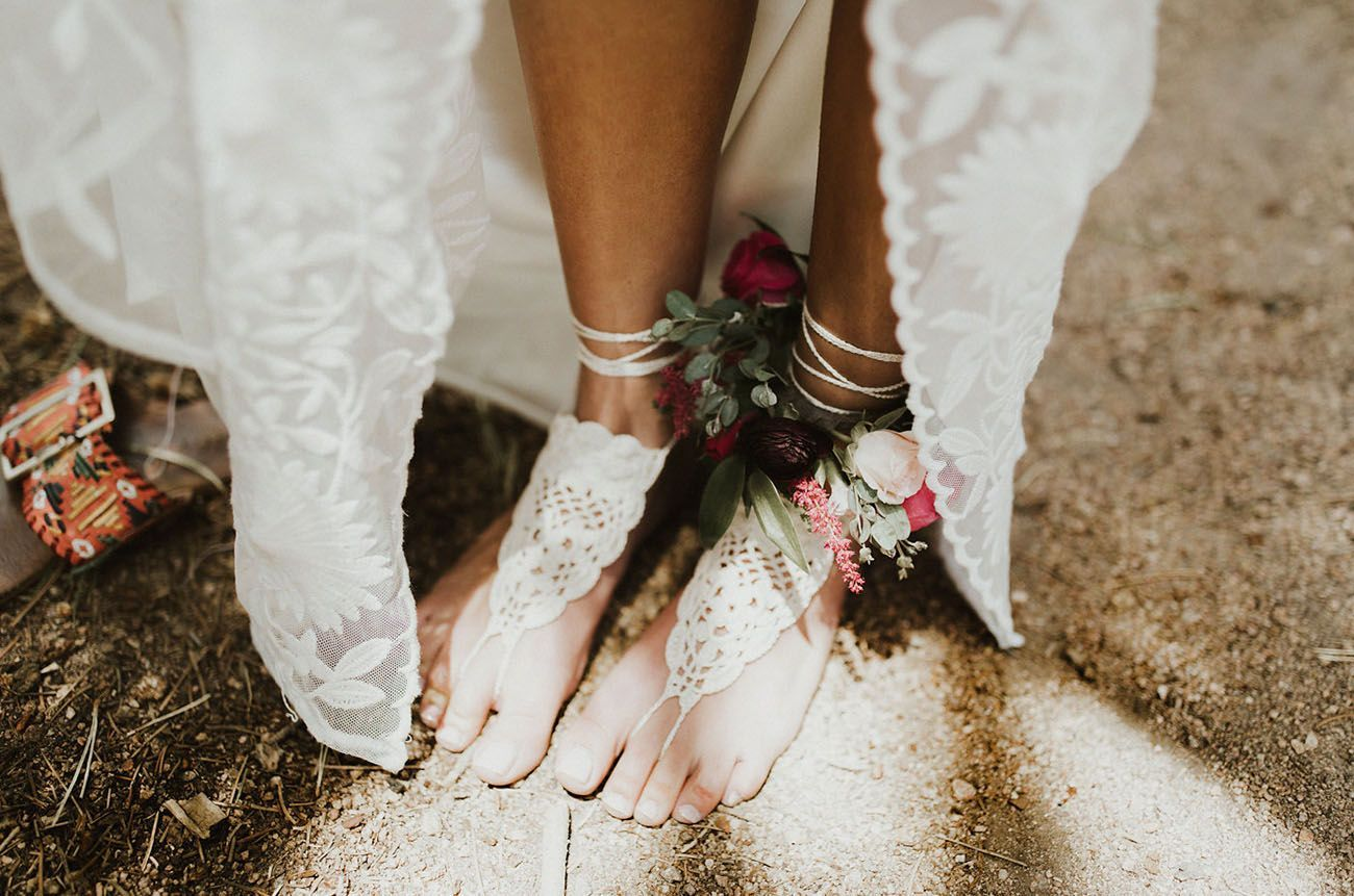 Barefoot bohemian wedding wedding lace shoe cuffs beach