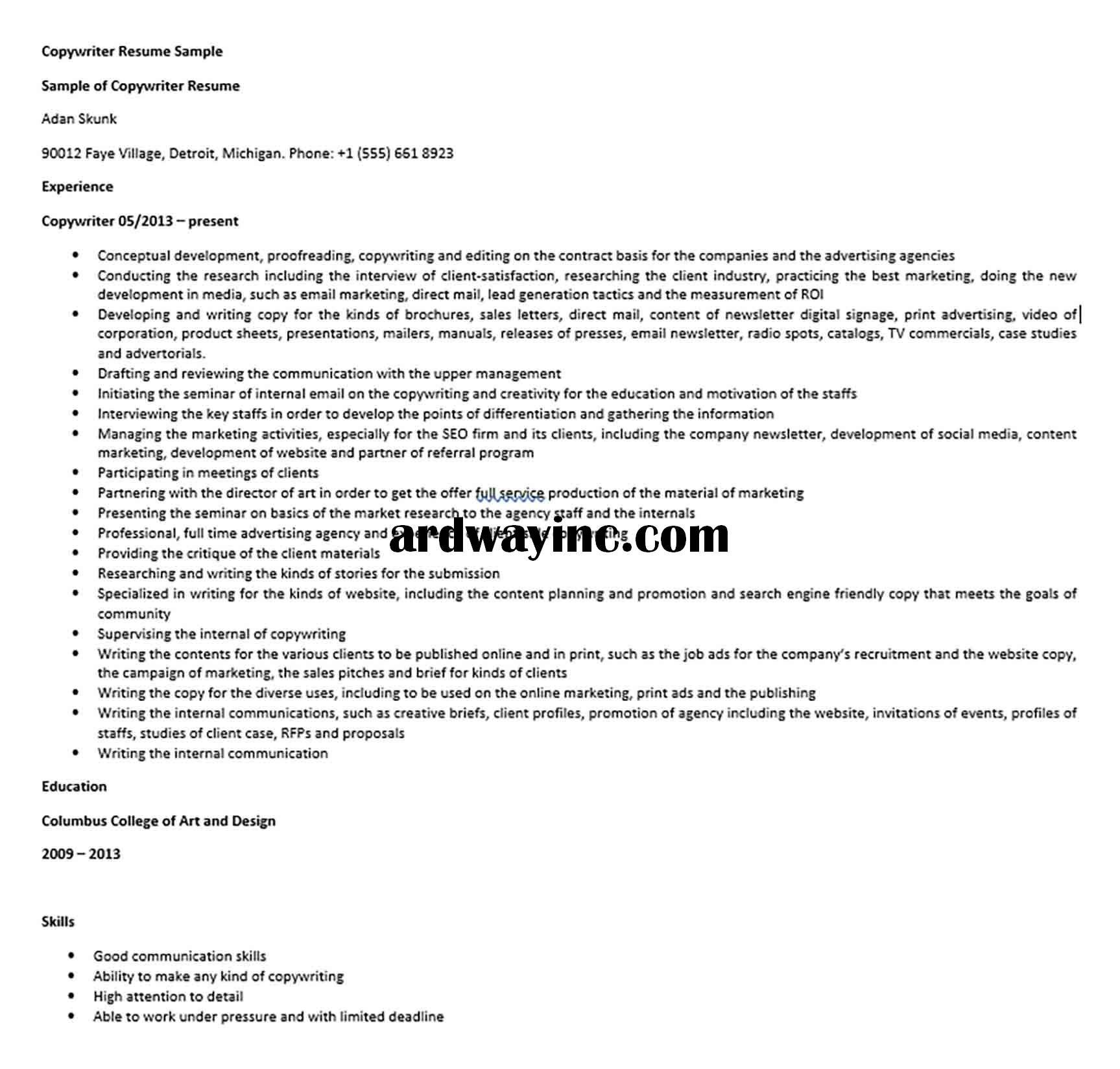 Copywriter Resume Sample Copywriting Resume Create A Resume