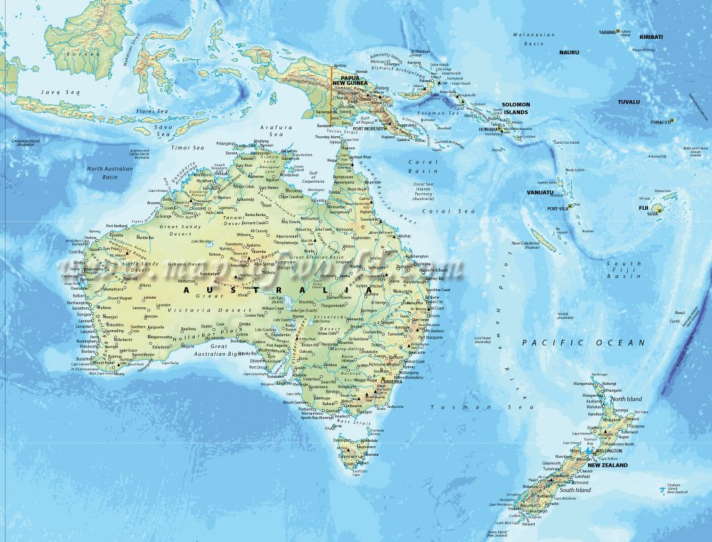 Physical map of Australia with Bali and New Zealand in sight