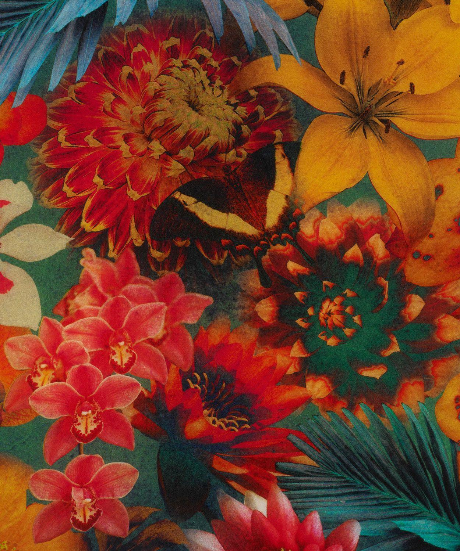 Turquoise Exotic Flowers Print Silk Scarf Liberty London Plants