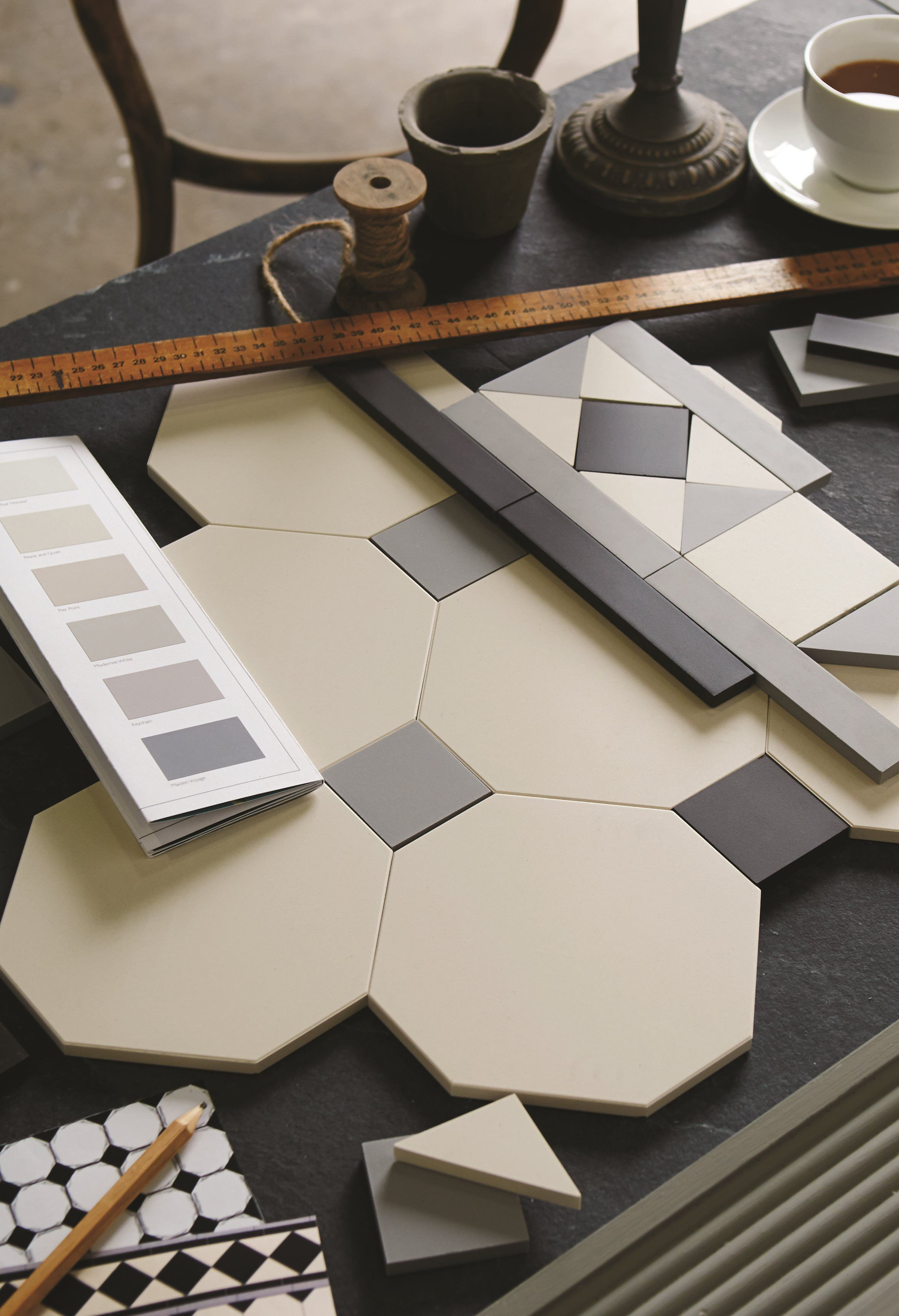 Our Geometric Victorian Floor Tile Range Is Made Up Of Individual Tile Pieces In Various Colours And Shapes Jus Hall Flooring Hallway Flooring Victorian Tiles