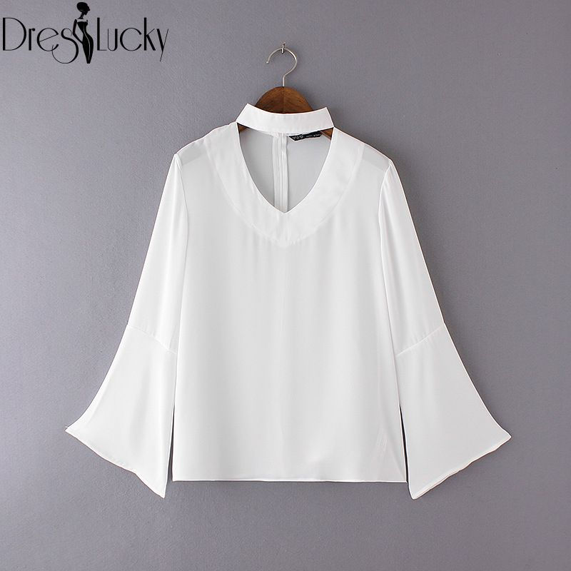 Fashion Elegant high neck white chiffon blouse halter Girls Top 2016 autumn casual bell sleeve shirt women solid new body blusas