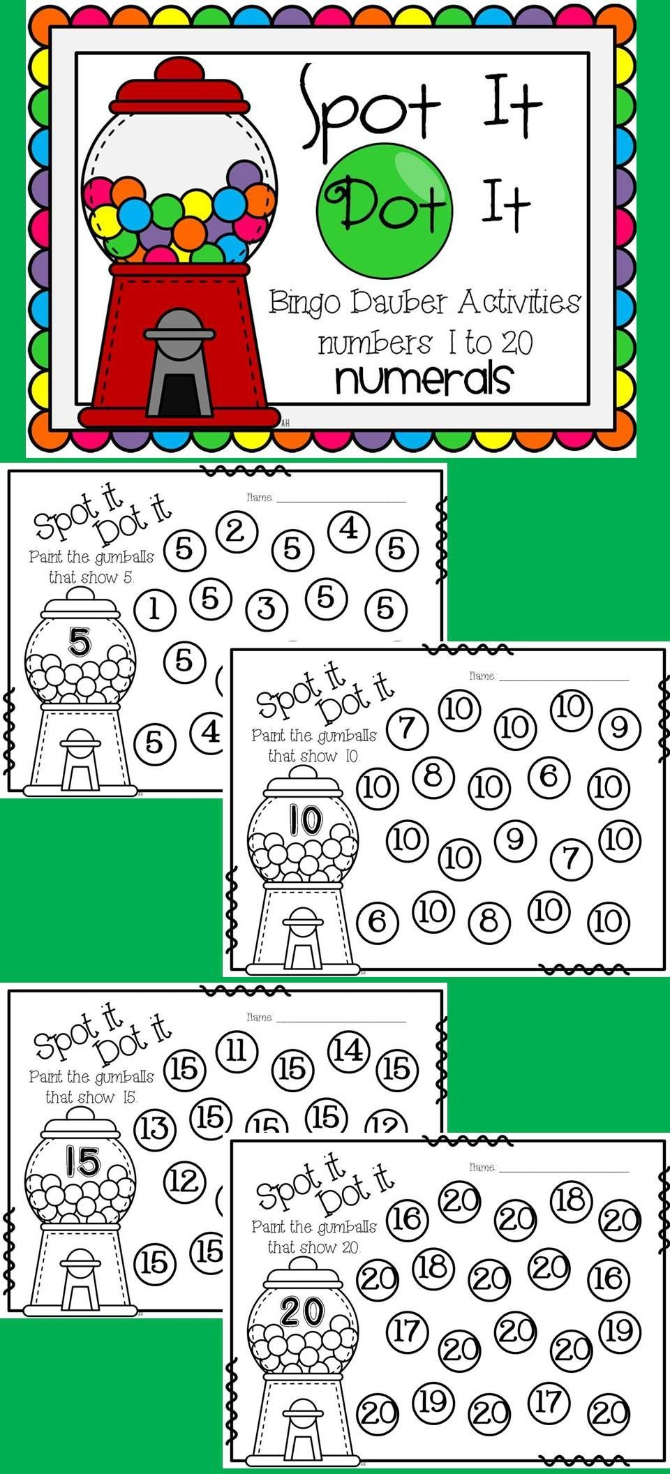 Spot It Dot It Bingo Dauber Printables for Numbers to 20