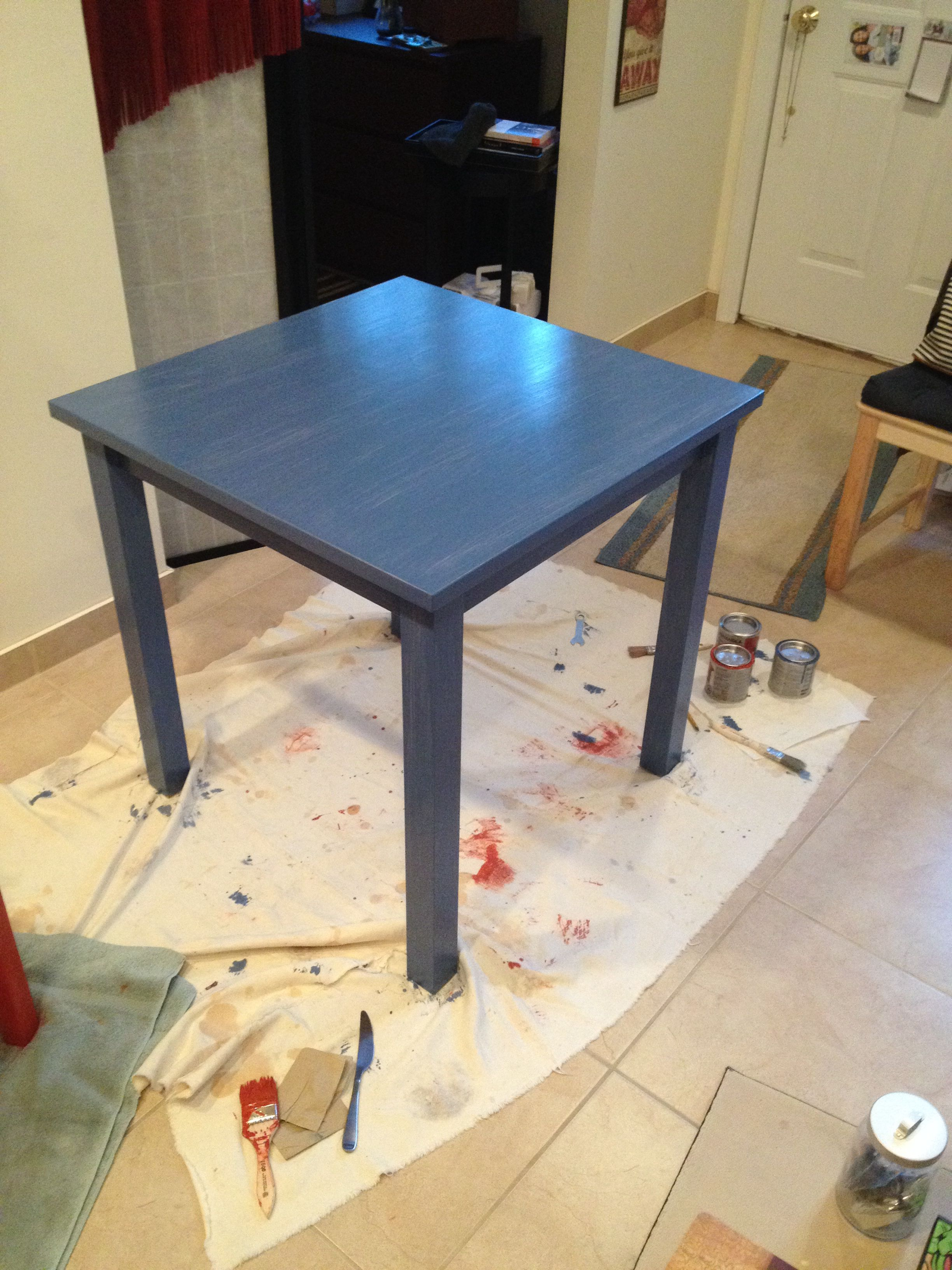 Ikea breakfast table originally birch wood painted with behandla blue glazing paint for untreated wood with sealant
