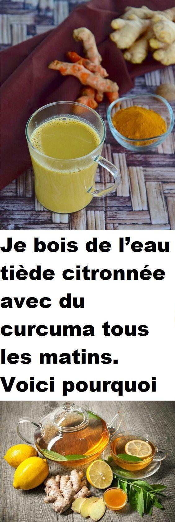 Je bois de l'eau tiède citronnée avec du curcuma tous les