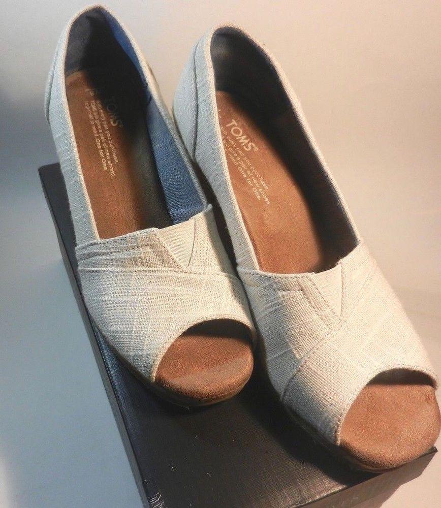 180e3ed3076 Details about TOMS Tan Corduroy Slip On Peep Open Toe Wedges Heels ...