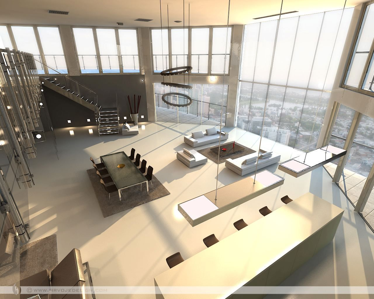 Open plan penthouse design layout living rooms with great for Open living room designs