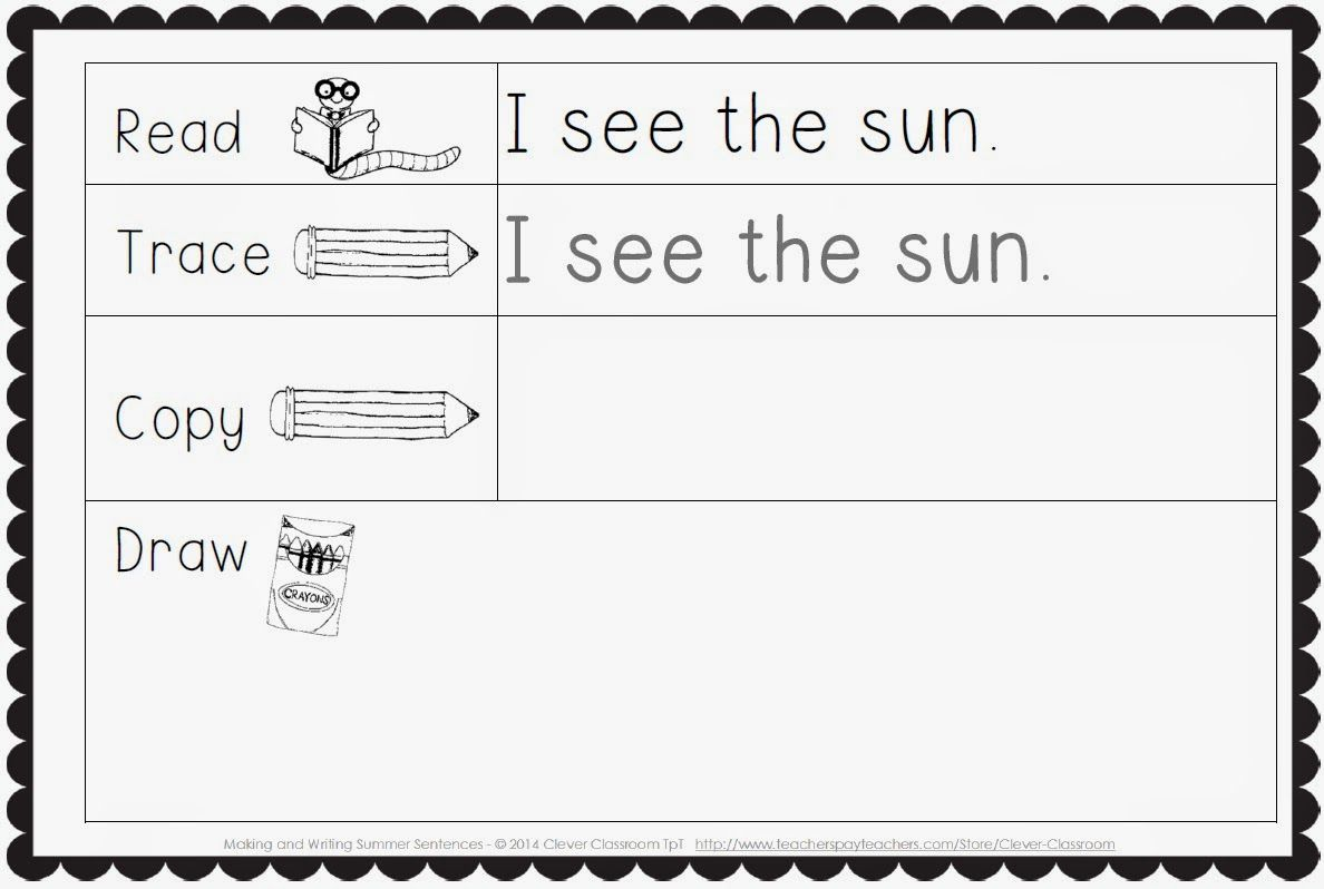 Making And Writing Summer Sentences For Kindergarten