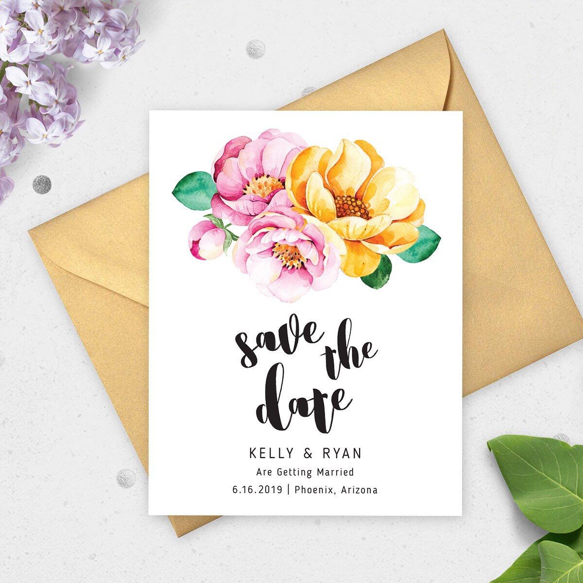 Save The Date Cards With A Gorgeous Watercolor Floral Design Note