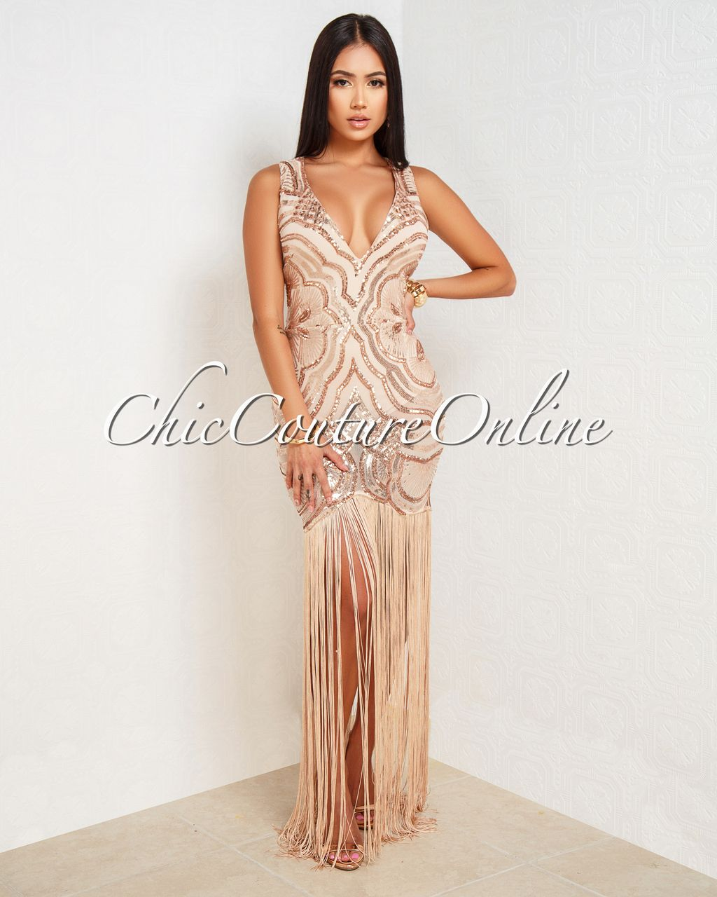 70241f37 Kirah Nude Rose Gold Sequins Long Fringe Dress | new years dress ...