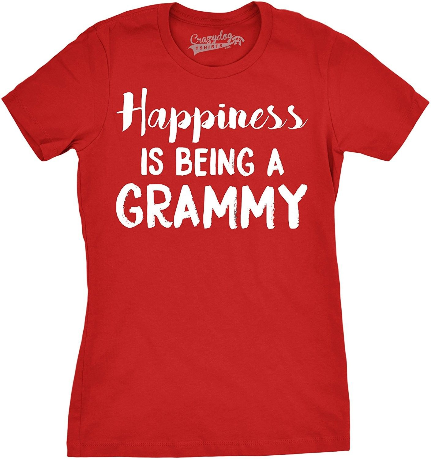 Crazy Dog T-Shirts Womens Happiness is Being a Grammy Funny Grandmother Tee for Grandma