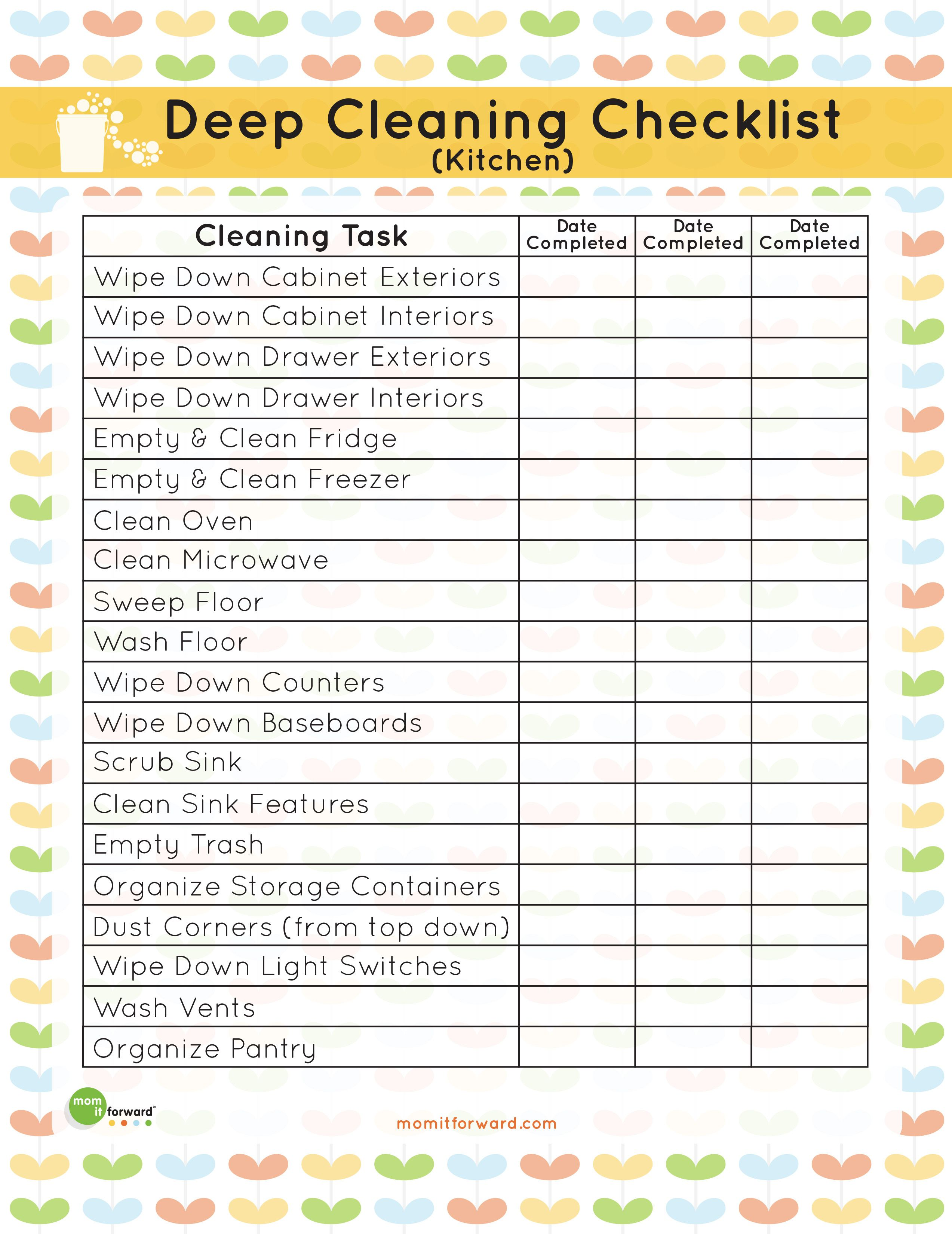 Printable: Kitchen Cleaning Checklist | CLEANING & ORGANIZATION ...
