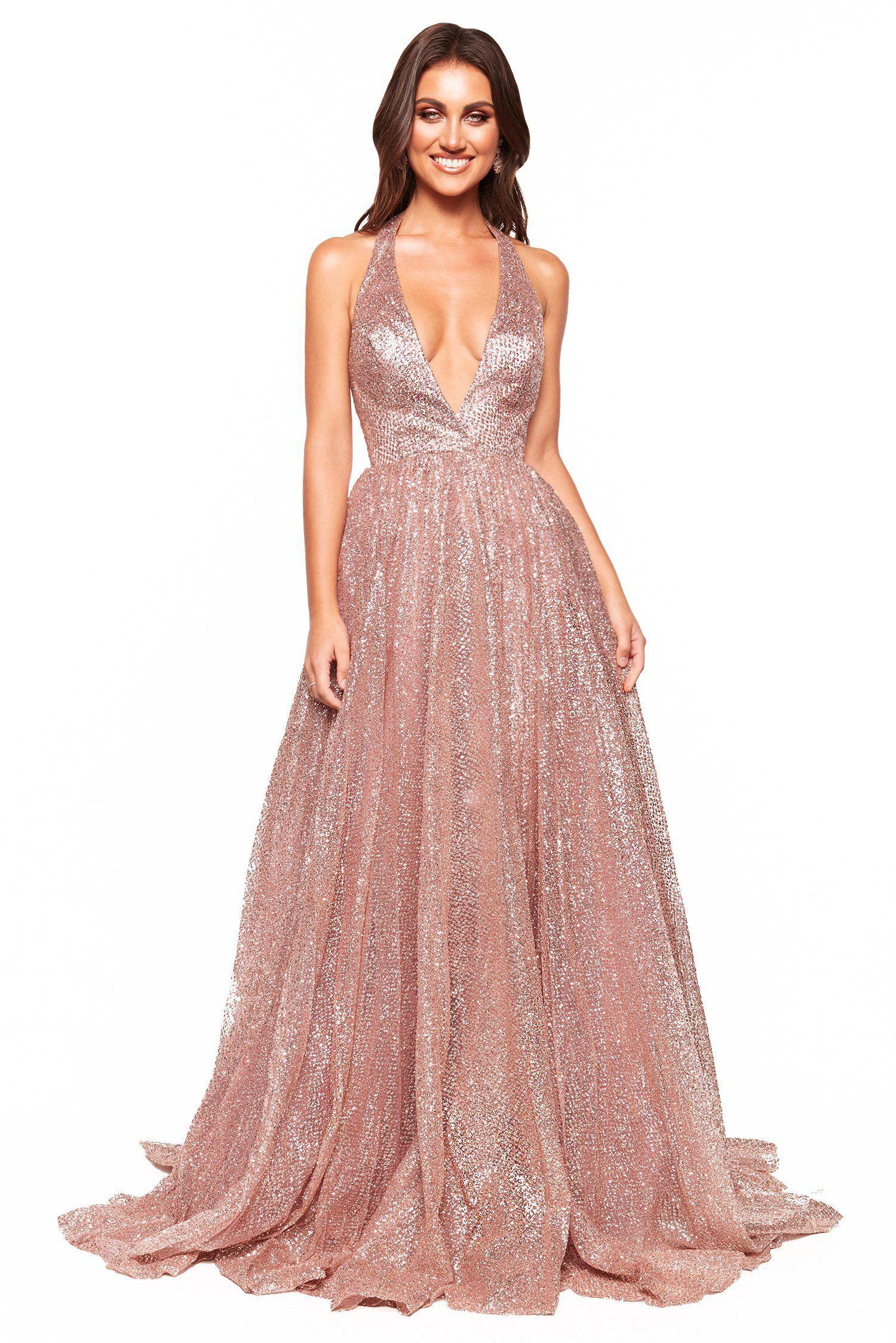 17e2e793 A&N Luxe Saina Glitter Gown - Rose Gold in 2019   prom dress   Gold ...