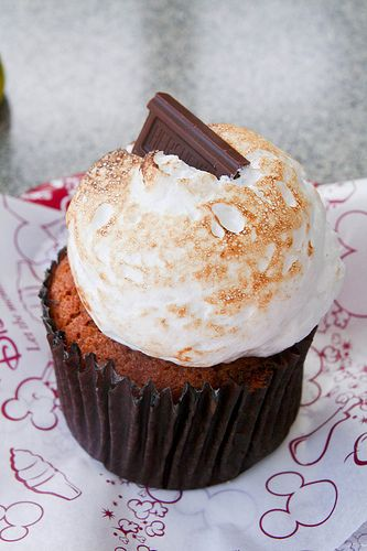 [want to try making Smores Cupcakes and this is the best sounding combination (to me), but there's no recipe :( ] S'mores Cupcake - Graham Cracker Cake with chocolate chips, topped with marshmallow frosting and a Hershey's square - from the Disney Cupcake Crawl