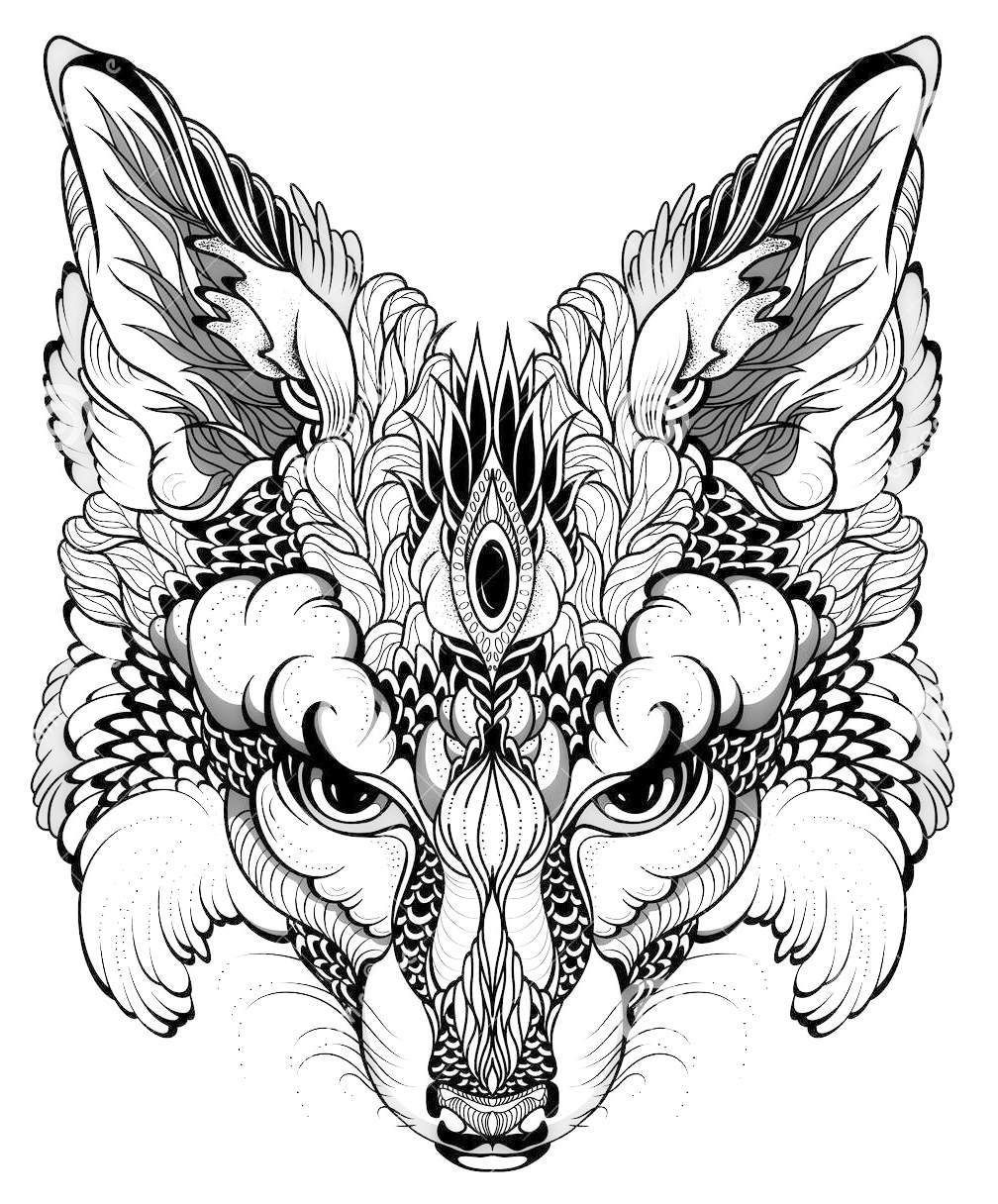 Mandala Fox Mask Coloring Page Fox Coloring Page Mandala Coloring Pages Animal Coloring Pages