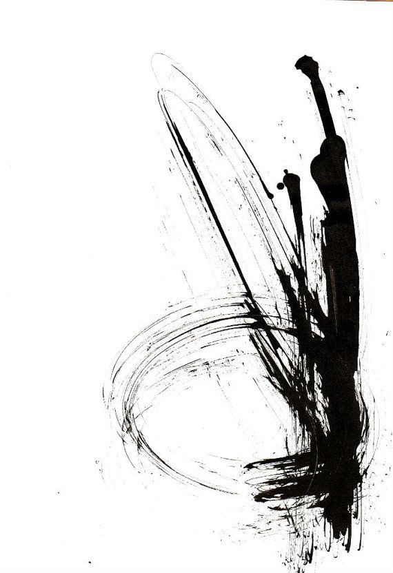 original abstract ink drawing on paper a4 movement wind time