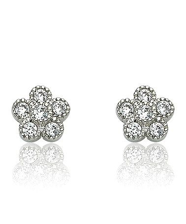 Take a look at this Little Miss Twin Stars Silver Small Flower Earrings by Little Miss Twin Stars on #zulily today!
