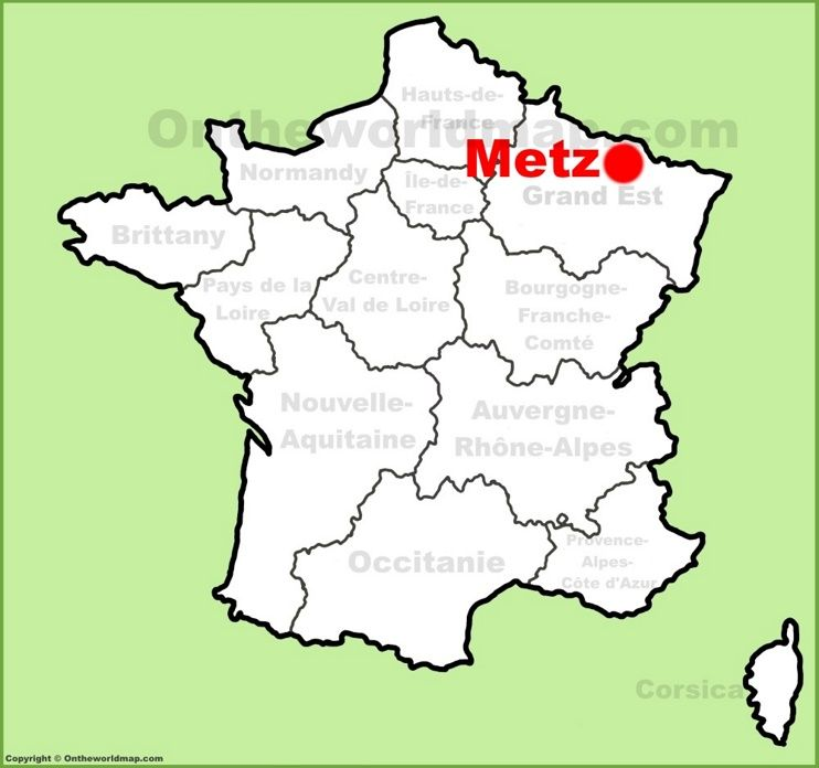 Metz location on the France map Maps Pinterest France and City