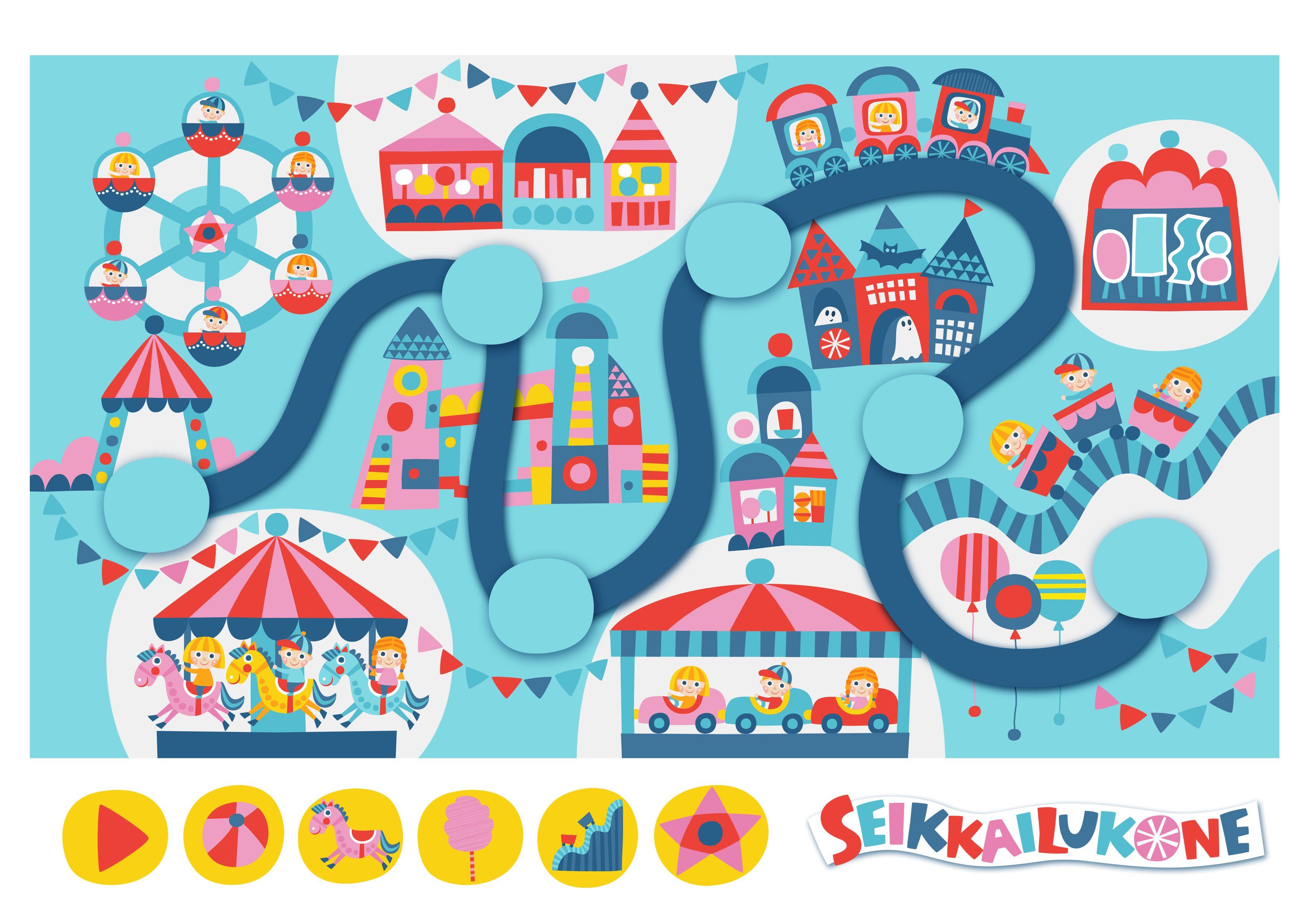 Seikkailukone | tulostettava | paperi | kartta | peli | tehtävä | huvipuisto | lapset | game | map | amusement park | children | kids | free printable | Pikku Kakkonen