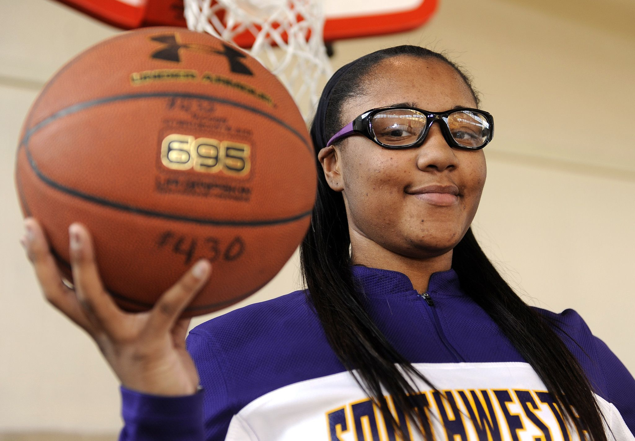 """Taylor is inspirational! Keep fighting! She keeps her migraines under control through exercise, diet and medication. """"On a Southwestern team with several girls new to basketball, Taylor Holmes handles a critical role, and it's not always easy."""""""